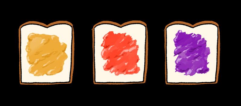 イラストフリー素材 食パンとジャム3種