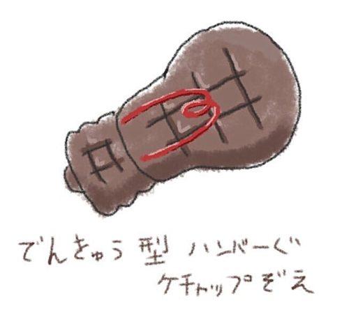 イラストフリー素材 電球型ハンバーグ