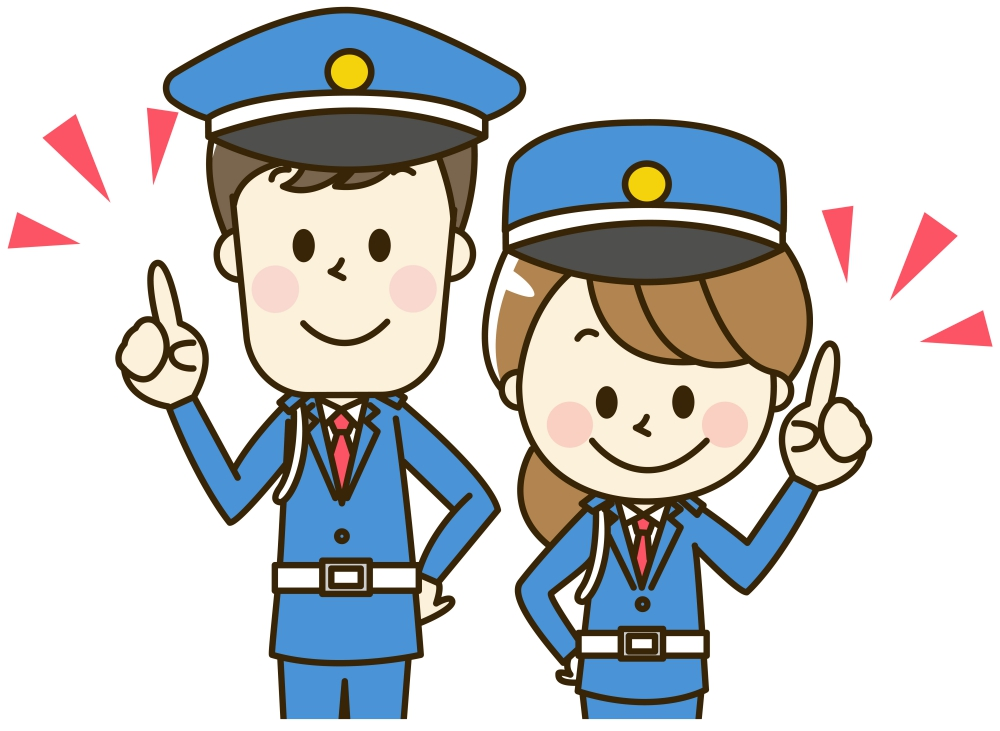 指を立てる男女の警備員