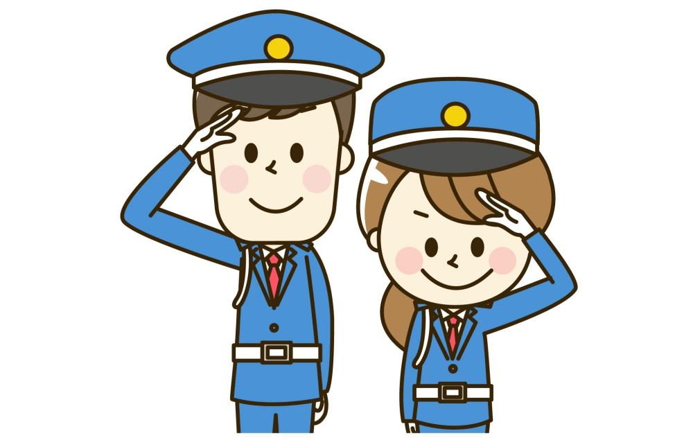 敬礼する警備員の男女