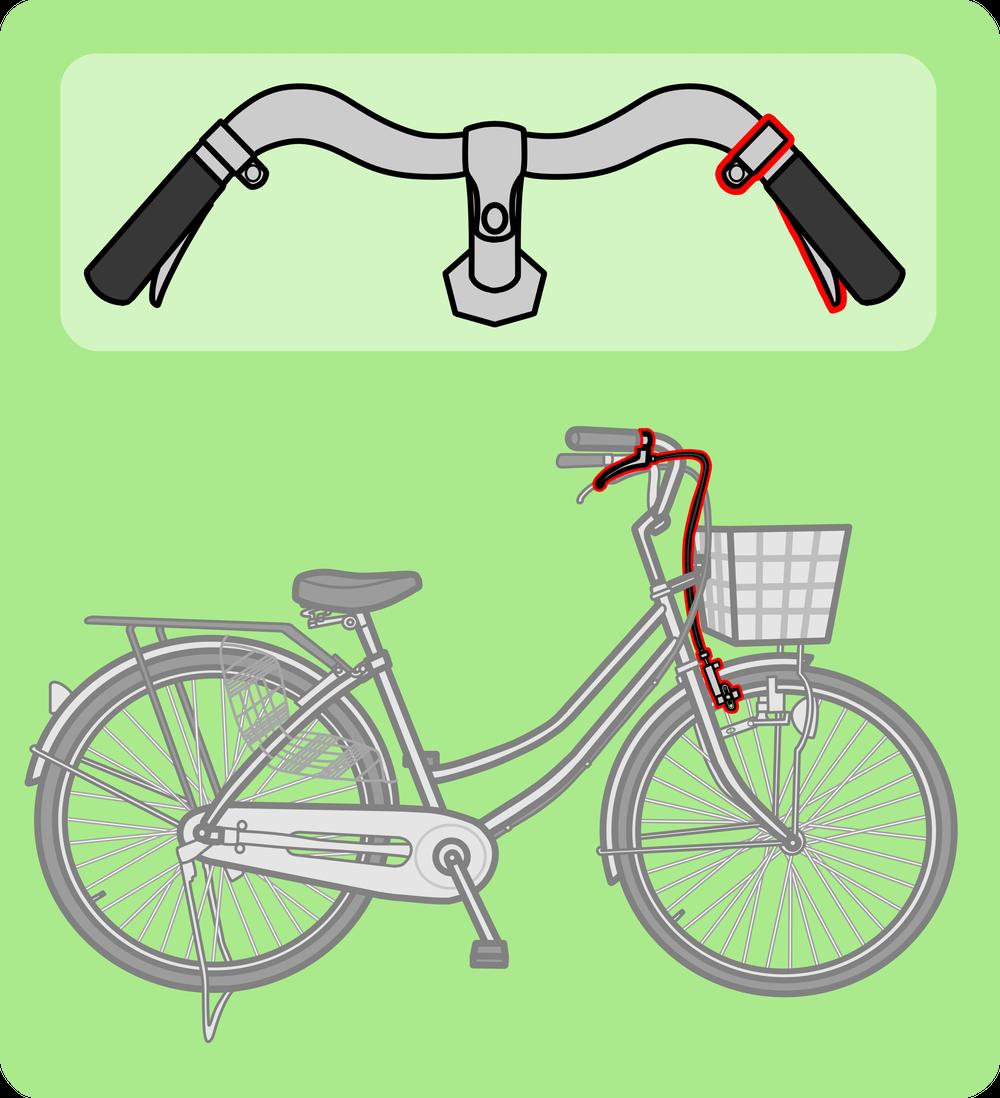 自転車の右ブレーキと前輪