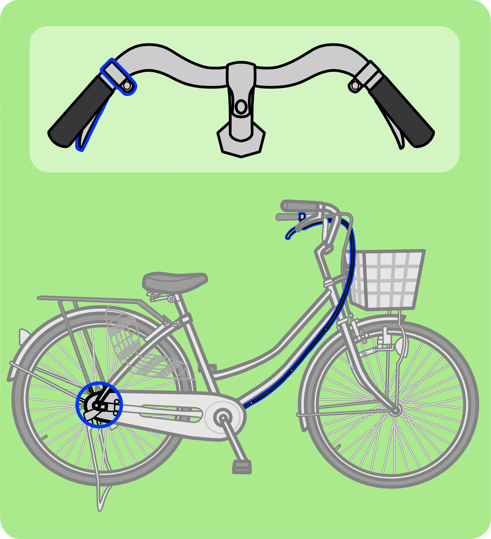 自転車の左ブレーキと後輪