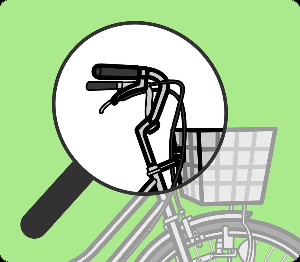 自転車のハンドル・ブレーキ・カゴ