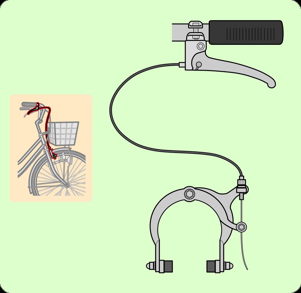 自転車の前輪ブレーキ全体図