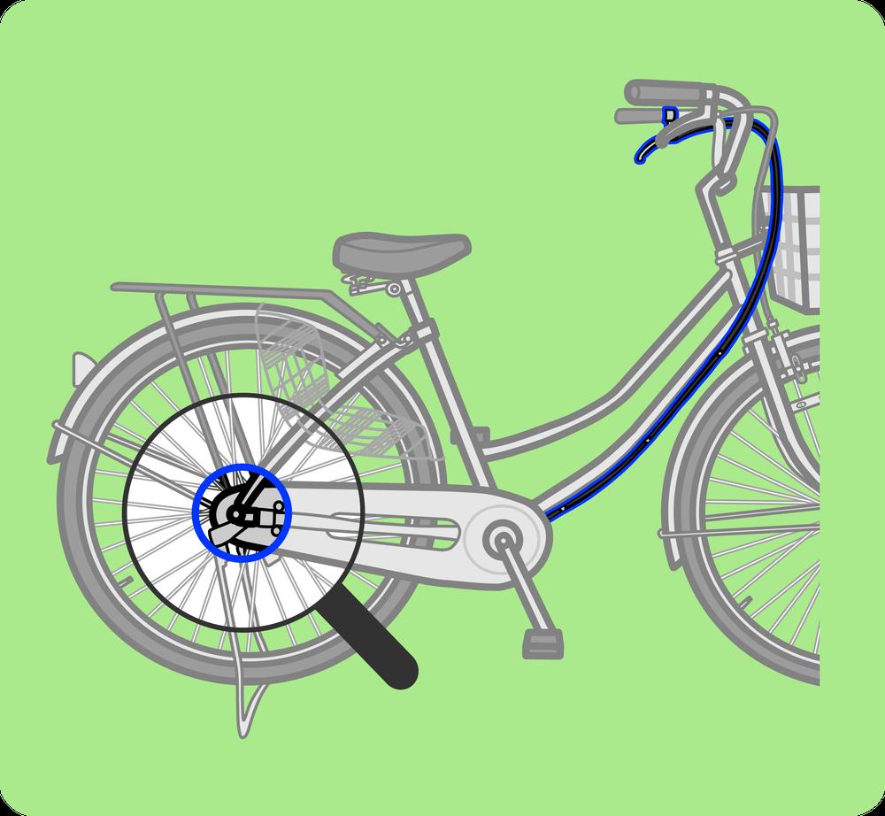自転車のしくみ図解 後輪ブレーキ全体