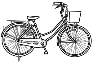 イラストフリー素材 自転車 線