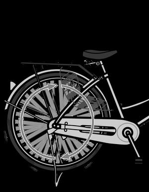 イラストフリー素材 自転車の後輪(動)