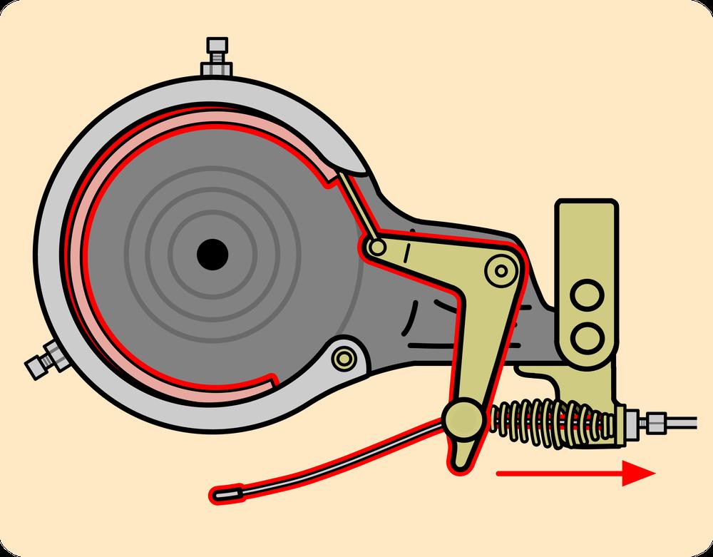 自転車の仕組み図解 L字型のレバーが引かれる