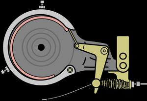 自転車イラストフリー素材 バンドブレーキ内部