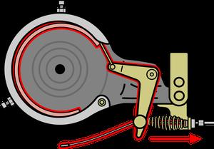 自転車イラストフリー素材 バンドブレーキとL字型レバー