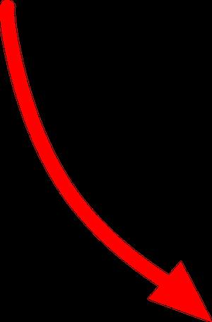 自転車イラストフリー素材 矢印 右斜め下カーブ