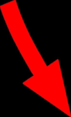 自転車イラストフリー素材 矢印 右斜め下カーブ(赤)