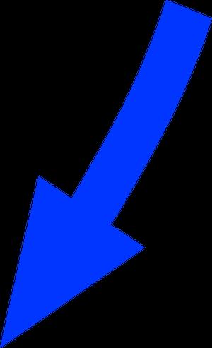 自転車イラストフリー素材 矢印 左斜め下カーブ(青)