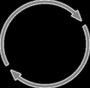 自転車イラストフリー素材 矢印 回転グレー(細)