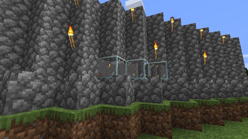 Minecraft(マイクラ)丸石拠点の窓