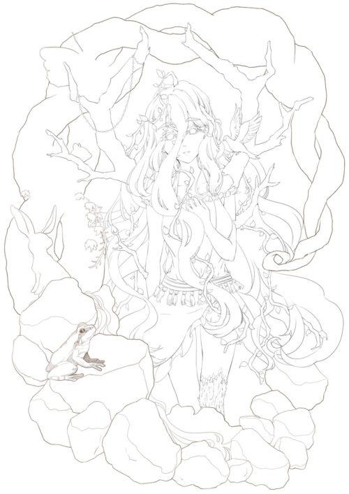 メイキング『木人(コビト)』ペン入れ2