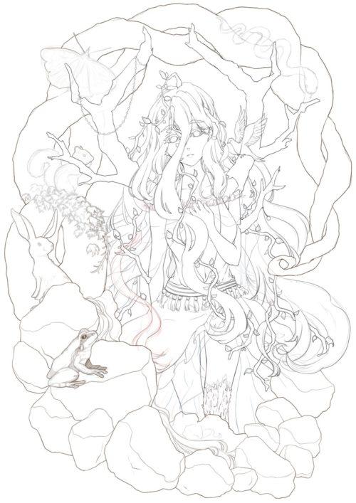 メイキング『木人(コビト)』ペン入れ1