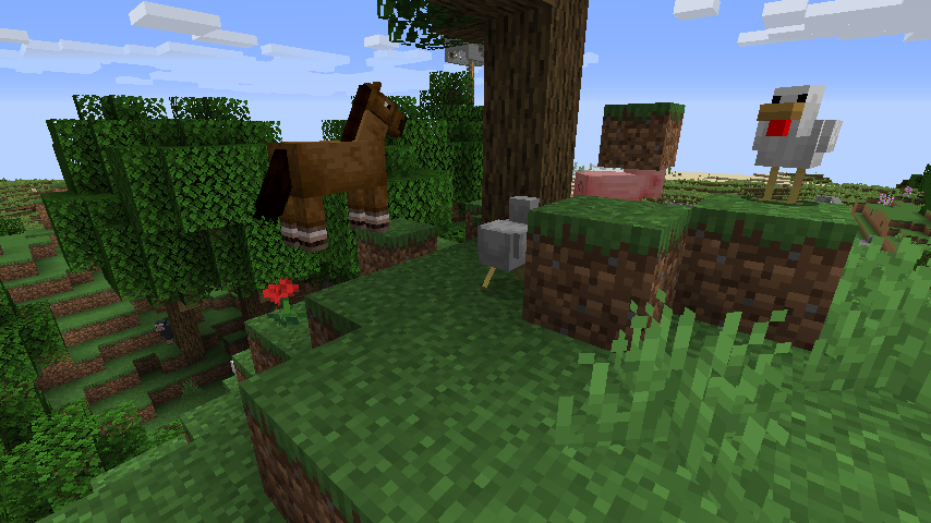 Minecraft(マイクラ)山に追いやられた動物