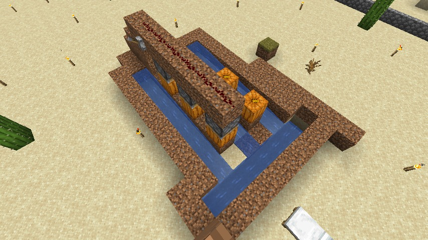 Minecraft(マイクラ)節約型カボチャ自動収穫機