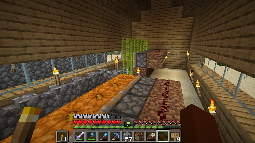 Minecraft(マイクラ)ピストンハウス内部